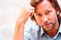 Closeup portrait of a smart confident mid adult man