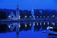Three Churches at twilight, Mahone Bay, Nova Scotia, Canada