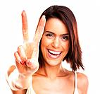 Cute cheerful woman showing the peace / victory hand sign against white background