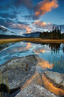 Scenic with water reflections of Rampart Ponds and Mount Athabasca, Banff National Park, Alberta, Canada