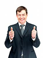 Portrait of a happy businessman with thumbs up gesture isolated on white background