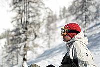 Snowboarder Wearing Hat and Goggles