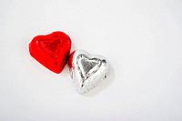 Two Foil Wrapped Heart Shaped Candies