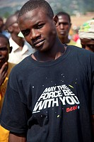 young man wearing a t_shirt with the writing ´May the force be with you´ from ´Starwars´, Burundi, Bujumbura Marie, Bujumbura