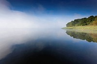 lakeside in morning mist clearing away, Germany, Saxony, Vogtland, Talsperre Poehl