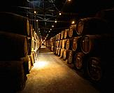 Wine cellar with stacked barrels of wine in Porto, Portugal