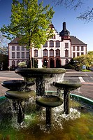 fountain in front of town hall, Germany, North Rhine_Westphalia, Ruhr Area, Hamm