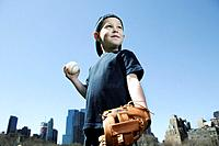 Boy with Baseball Glove and Ball