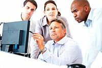 Business colleagues using computer with mature business man pointing at screen