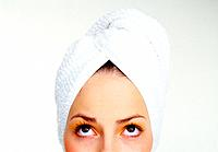 Young Woman Wearing Towel Round Her Hair
