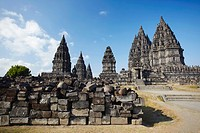 Temples at Prambanan complex UNESCO World Heritage Site, Java, Indonesia