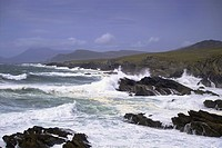 Waves pounding the coastline of Achill Island, County Mayo, Ireland
