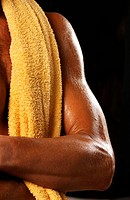 male arm with towel