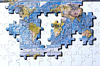 Incomplete World Map Made of Jigsaw Pieces