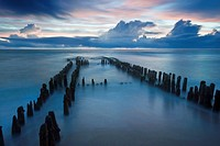 evening mood after sunset at old groyne, Germany, Schleswig_Holstein, Sylt