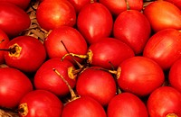 Tree tomato, Tamarillo, Tomate de rbol Cyphomandra betacea, Cyphomandra crassicaulis, collected tree tomatos in a box