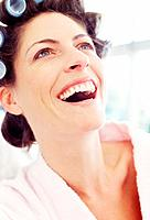 Woman laughing, close_up