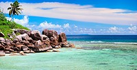 granite rocks at tropical beach, Seychelles