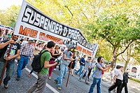 Demonstration in Lisbon against the IMF and austerity  Banner: 'Suspension of the debt payment/ More employment - More salary'  Oct , 1st, 2011, Lisbo...