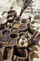 tannery, medina, Fes, Morocco