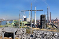 view from the Alsumer hill, a view point at the Industrial Heritage Trail, on a steel plant, a coking plant and blast furnaces, Germany, North Rhine_W...
