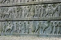 geography / travel, Iran, Persepolis Parsa, palace of Xerxes I, Hadish, built circa 480 _ 470 BC, detail. relief, tribute bringer,