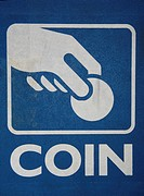 blue coin sign