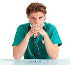 sitting doctor with stethoscope