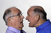 Double decisions by senior man showing anger