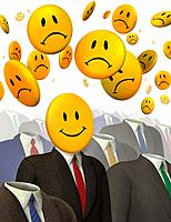 Businessmen with Smiley Faces for Heads