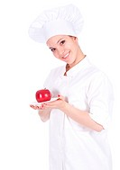 female chef and apple