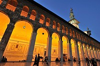 The courtyard of Umayyad Mosque at sunset  Damascus, Syria