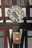 geography / travel, Germany, Hesse, Michelstadt in Odenwald, clock at the historic town hall,