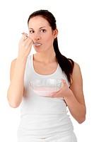Female eating yoghurt