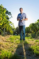 Man holding wine bottle in vineyard