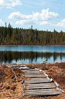 Old wooden pier to lake