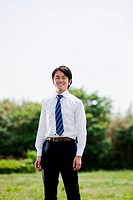 Young businessman wearing shirt and tie, portrait