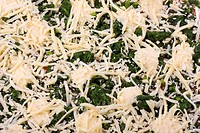 detail of a spinach pizza