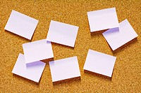 Sticky notes on corkboard