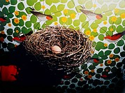 Nest with egg, wallpaper with birds in the background