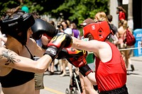 Female boxers at the Gay Pride Parade, Toronto, Ontario