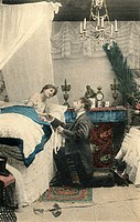 people, marriage, bridal couple, wedding night, coloured picture postcard, series, card 9, France, circa 1890,