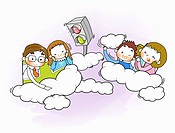 Happy family on cloud cars