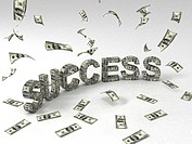 hree dimensional success banner made out of dollar bills