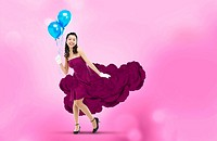 Woman Wearing Violet Flower Dress Holding Blue Balloons
