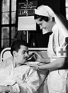 events, Second World War / WWII, medical service, wounded Spanish volunteer is being fed by a nurse, 22.10.1941,