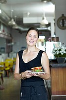 Waitress Holding Sandwich