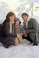 Family Portrait Outdoors in Winter