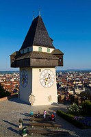 Austria, Styria, Graz, Schlossberg, Uhrturm Tower, Clock Tower, Old Town.