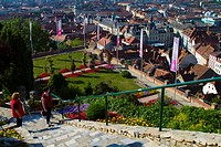 Austria, Styria, Graz, Old Town viewed from Schlossberg.